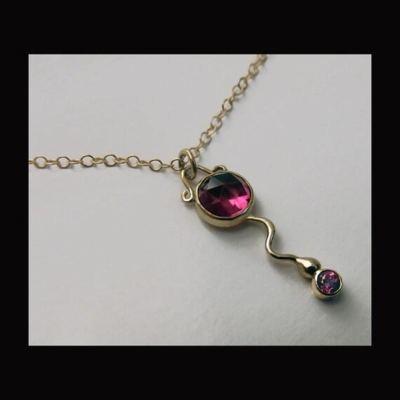14k Gold Rhodolite Garnet Necklace
