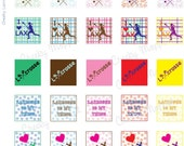Cheeky Lacrosse Girl 1 Inch Square Tiles Printable sheet