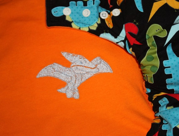 Orange Dinosaurs  - Medium /Large 9-12m AI2 Cloth Diaper and Embroidered Tee Set
