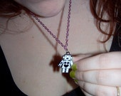 Robot Necklace- Kawaii White Enameled Robot on Pink Chain (With Gift Box)