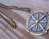 Compass Necklace - Antiqued Brass Enameled Steampunk Pendant  (With Gift Box)