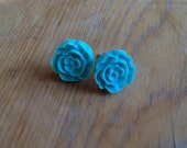 Black Friday / Cyber Monday Sale- Free Shipping- Aqua Blue Mini Rose Stud Earrings (With Gift Box)