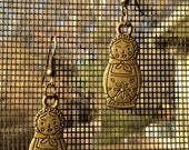 Gifts under 10 - Matryoshka Nesting Doll Antiqued Brass Earrings(With Gift Box)