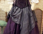 Renaissance CORSET purple Witch Wench custom costume Dress Gown size MEDIUM Ready to ship