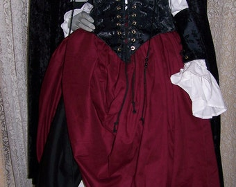 Piratess Renaissance Pirate Gown Dress costume naughty Wench Womens