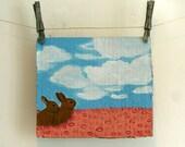 Bunnies in Pink Field - Original Acrylic Painting