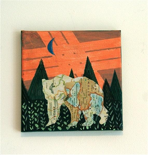 Bear // Original Mixed Media Painting