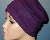 FREE SHIP USA 3-Band Purple  Chemo Hat, Hijab, Alopecia Cap