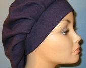 FREE SHIP USA Womens Navy Pleated Snood, Hijab, Hair Loss, Chef Hat