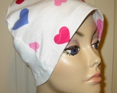 FREE SHIP USA Chemo Flannel Sleep Cap, Cancer Hat, Alopecia,Small Hearts