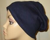 FREE SHIP USA 2-Way Navy Knit Chemo Cap, Cancer Hat, Alopecia, Modest Hat,