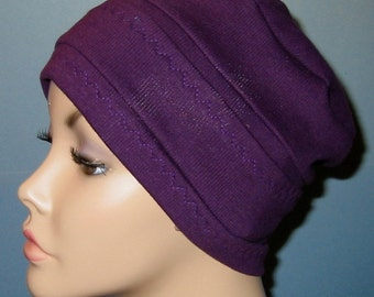 3-Band Purple Chemo Hat, Hijab, Alopecia Cap