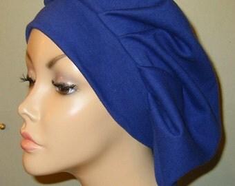 Womens Royal Blue  Pleated Snood, Hijab, Hair Loss, Chef Hat