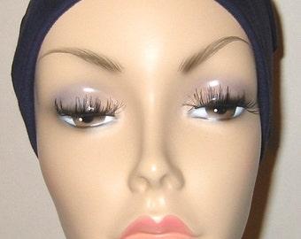 Navy Cotton Hat Liner -Chemo, Cancer, Alopecia, Hijab Liner,  Sleep Cap, Scarf Liner