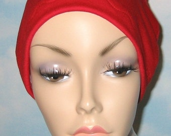 Red Cotton Hat Liner -Chemo, Cancer, Alopecia, Hijab Liner,  Sleep Cap, Scarf Liner