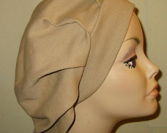 Womens Camel Pleated Snood, Hijab, Hair Loss, Chef Hat