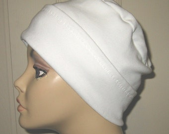 2-Way White Knit Chemo Cap, Cancer Hat, Alopecia, Modest Hat,