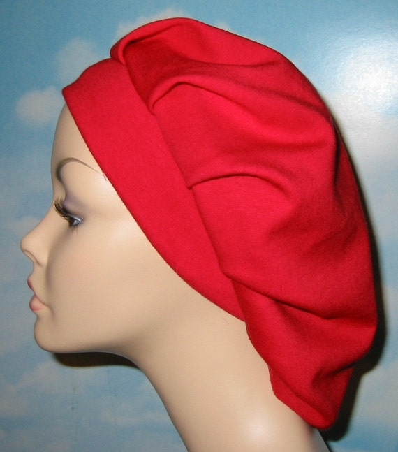 Womens Red  Pleated Snood, Hijab, Hair Loss, Chef Hat