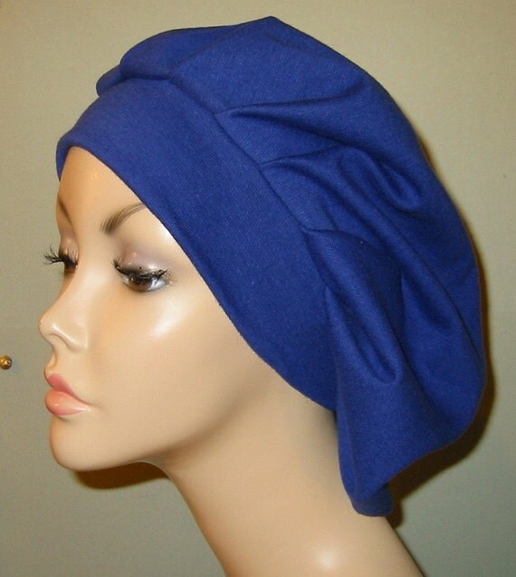 Womens Royal Blue  Pleated Snood, Hijab, Hair Loss, Chef Hat