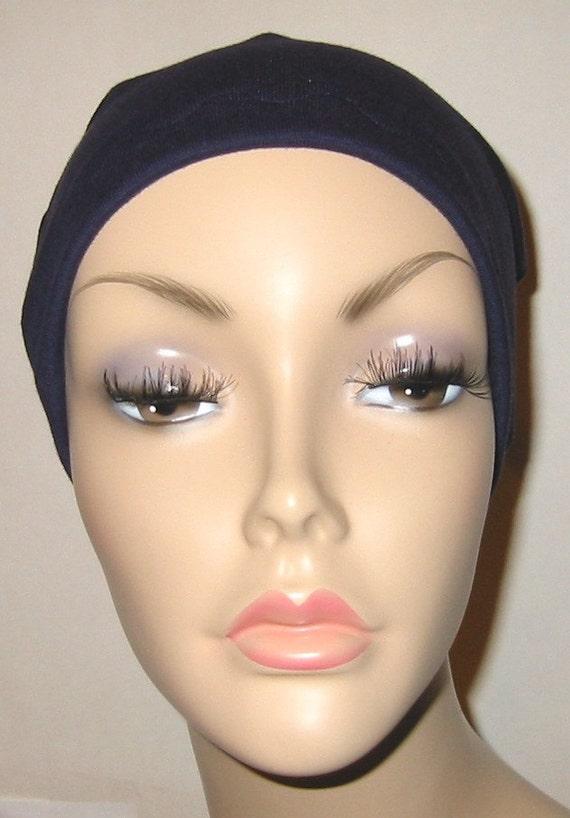 FREE SHIP USA Navy Cotton Hat Liner -Chemo, Cancer, Alopecia, Hijab Liner,  Sleep Cap, Scarf Liner