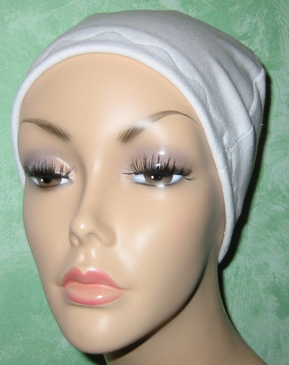 White Cotton Hat Liner -Chemo, Cancer, Alopecia, Hijab Liner,  Sleep Cap, Scarf Liner