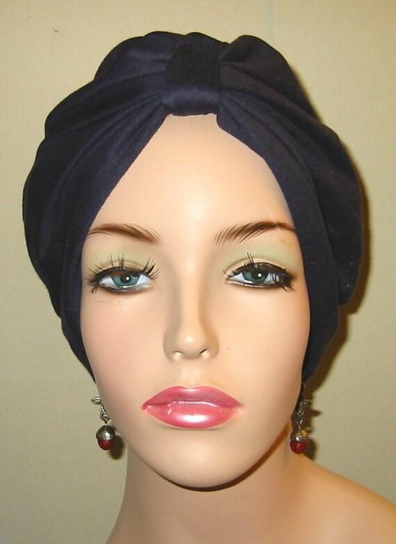 Navy  Knit Turban, Chemo Hat, Snood, Womens Hat