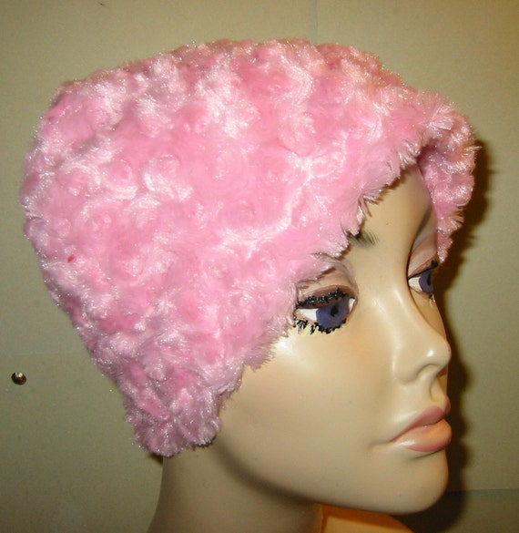 Cancer, Chemo Hat,Pink Roses Furry  Comfort Hat, Alopecia, Turban