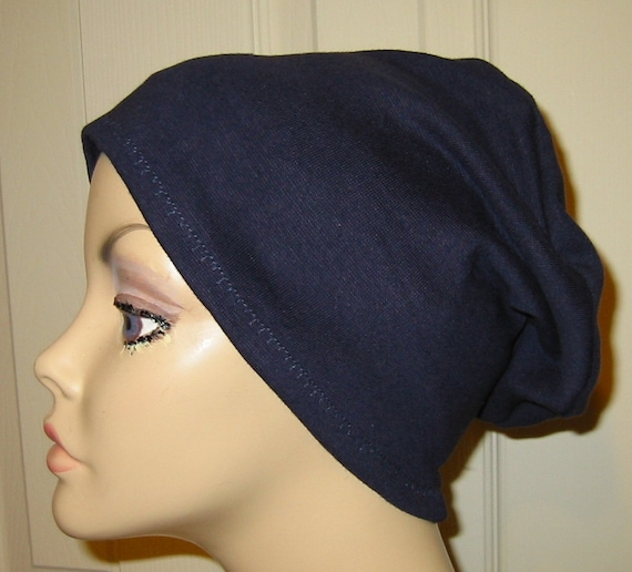 2-Way Navy Knit Chemo Cap, Cancer Hat, Alopecia, Modest Hat,