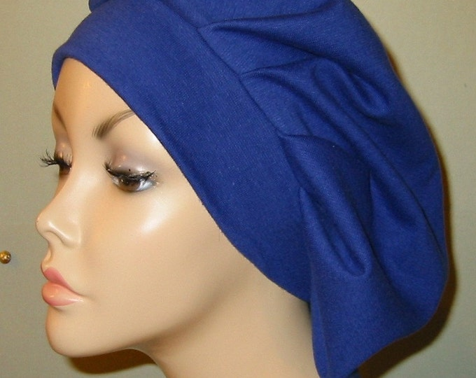 Featured listing image: Womens Royal Blue  Pleated Snood, Hijab, Hair Loss, Chef Hat