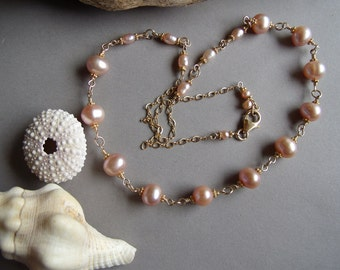 SALE  Gold Filled Gorgeous Pale Rose - Hints of Gold - Pink Freshwater Pearl Necklace