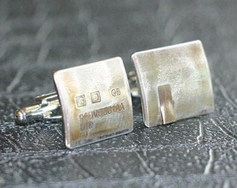 Jaguar Car Engine Part CUFFLINKS - salvaged part with original stampings of part numbers.