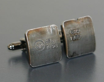 Range Rover Car Engine Part CUFFLINKS - salvaged part with original stampings of part numbers.