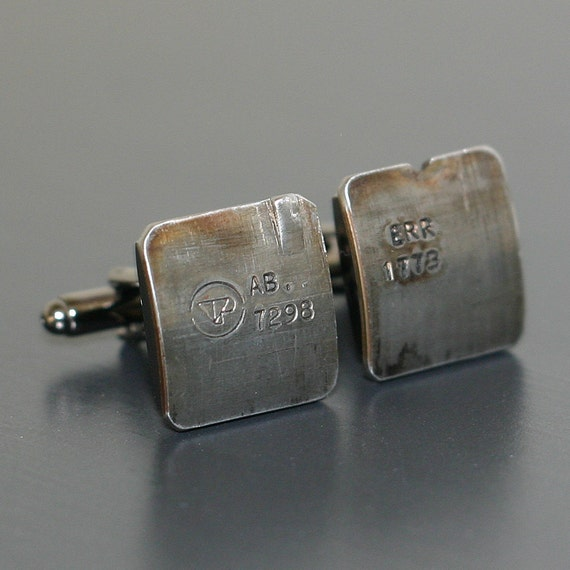 Range Rover Car Engine Piston CUFFLINKS - salvaged part with original stampings of part numbers.
