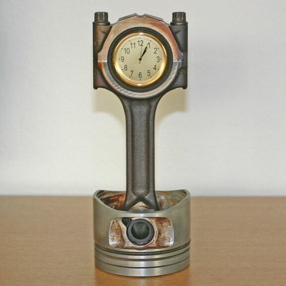 Recycled Auto Piston Rod Desk Clock Volvo