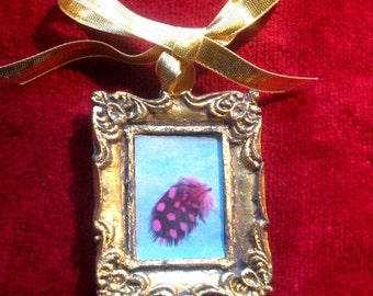 Feather pendant, Dolls House picture, Pink Feather