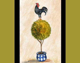 Rooster Tree Painting,  Bird Painting,  Topiary Tree , Watercolor painting.