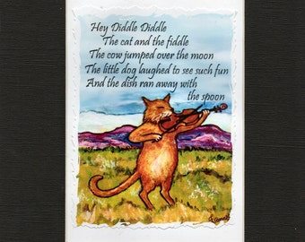 Cat Art - Nutsery Rhymes - Hey Diddle Diddle- Baby Gift- Nursery Wall- Childs Gift- wall Decor-Childs Birthday Gift