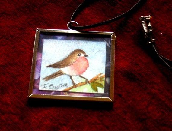Bird Red Robin Wearable Art in a Pendant