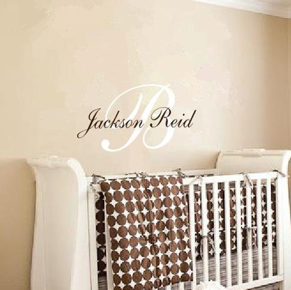 Boy or Girl Fancy Monogram Initial with Name 2 colors Vinyl Wall Art Decal