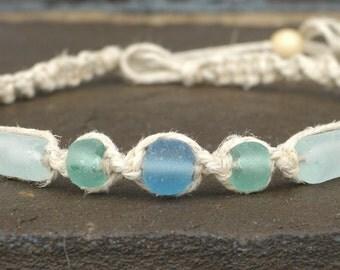 SALE SeaBreeze Indonesian Recycled Glass Beads Hemp Necklace SALE  handmade macrame jewelry