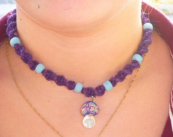 Dark Purple Spiral Hemp Necklace with Glass Fimo Mushroom Pendant and Aqua Beads