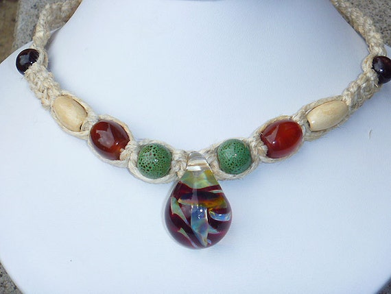 Thick Hemp Necklace with  Large Glass  Mushroom Pendant