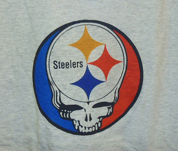 Steal Your Pittsburgh Steelers  Grateful Dead Lot Style Shirt    Grey   XL