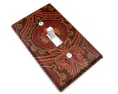 Maroon and Gold Damask Light Switch Cover Switchplate Switch Plate Burgundy Oxblood Red Home Decor