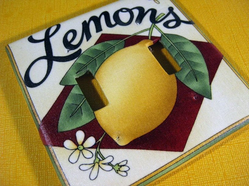 Lemon Citrus Kitchen Decor Light Switch Plate by ModernSwitch