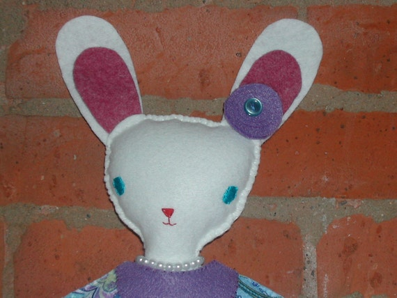 Violet Bunnington the Proper Young Lady White Wool Felt  Bunny Rabbit Doll EASTER  FREE SHIPPING