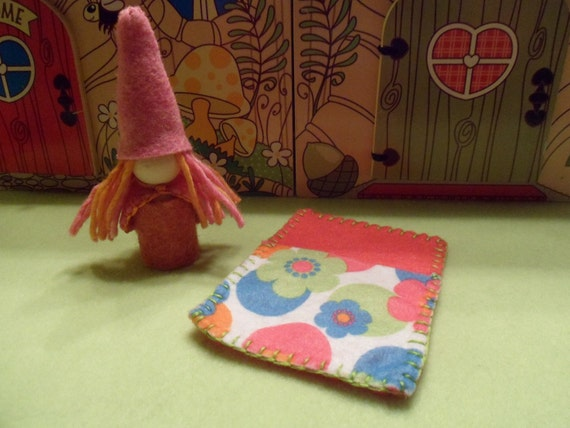 Gerbera Daisy the Little Girl Waldorf Style Gnome comes with a Sleeping Bag Peg People