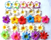 Pick Your Color or Style - Beautiful Stunning Artificial Mix Rainbow Color Plumeria Frangipani & Tahiti Big Flower 3,5 inch Lot of 50 pcs