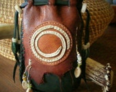 SPIRAL Native American style medicine spirit bag, with Elk bone, Deer Antler, Antique beads