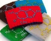 Coffee Sleeve .Caffeine Molecule. Custom/Made-to-Order Eco-Fi